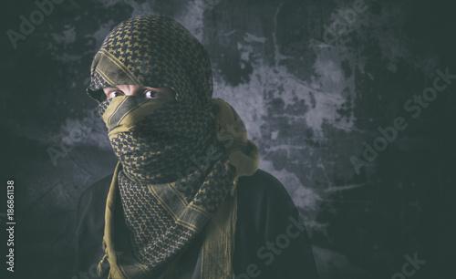 Cuadros en Lienzo Masked criminal portrait with grungy background concept
