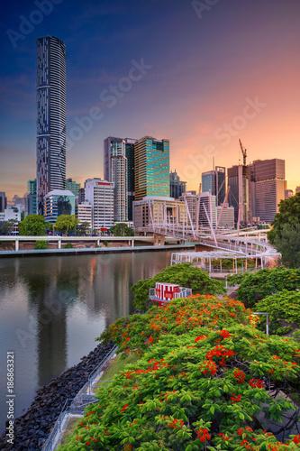 Poster Océanie Brisbane. Cityscape image of Brisbane skyline, Australia during dramatic sunrise.