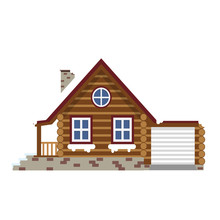 Wooden Winter House Color Flat