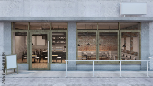 Front view Cafe shop & Restaurant design Canvas-taulu