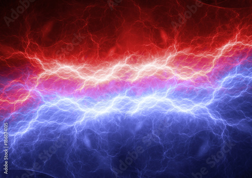 Photo  Red and blue lightning, modern power electrical background