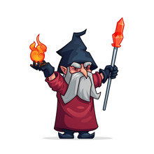 Vector Cartoon Evil Wizard Or Bad Magician Icon