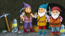 Cartoon Scene With Happy Dwarf...