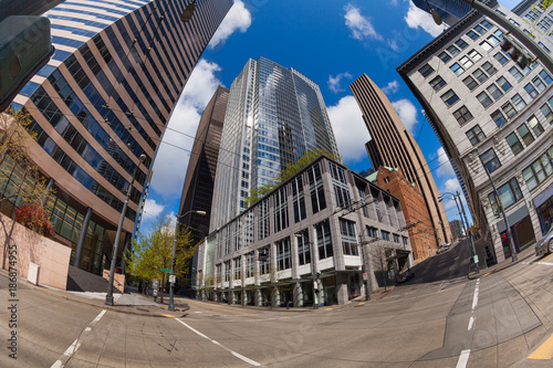 Fotomural Fisheye view of Seattle central district at summer