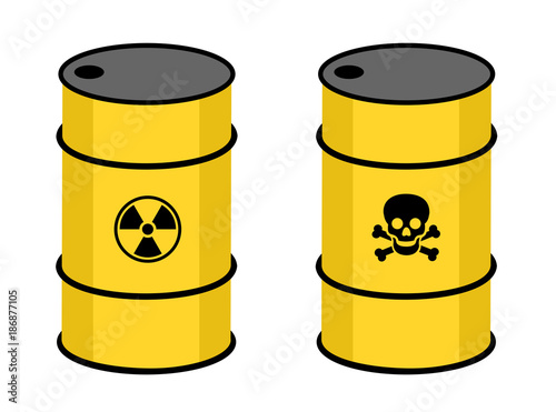 Barrel With Radioactive And Toxic Substance Symbol Of Radioactivity