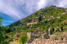 View Of Ruins Of The Archaeological Medieval Town Of Mystras,one Of The Most Important Byzantine Sites In Greece.