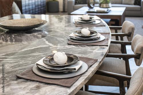 Fotografie, Obraz  Decorative Place Settings On Counter Bar