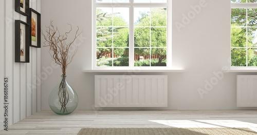 Fototapeta White empty room with summer landscape in window. Scandinavian interior design. 3D illustration obraz na płótnie