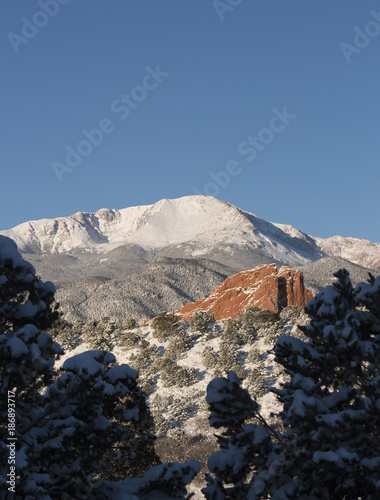 Winter Garden of the Gods Pikes Peak , Buy this stock photo