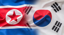 North And South Korea Flag. Colorful South And North Korea Flag Waving In The Wind