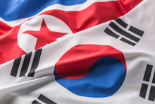 North And South Korea Flag. Co...