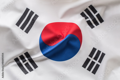 Fotografía  South korea flag. Colorful South Korea flag waving in the wind