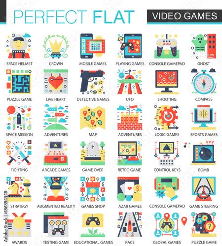 Video Games Console Game Vector Complex Flat Icon Concept Symbols