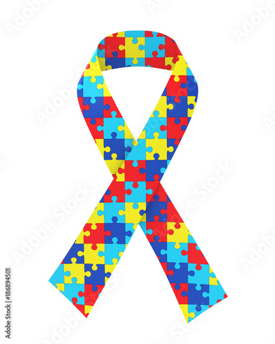 Puzzle Ribbon Autism Awareness Isolated Wallpaper Mural