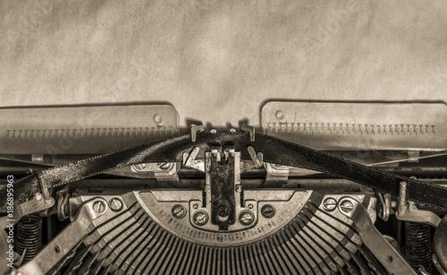 typewriter. sheet of paper. retro