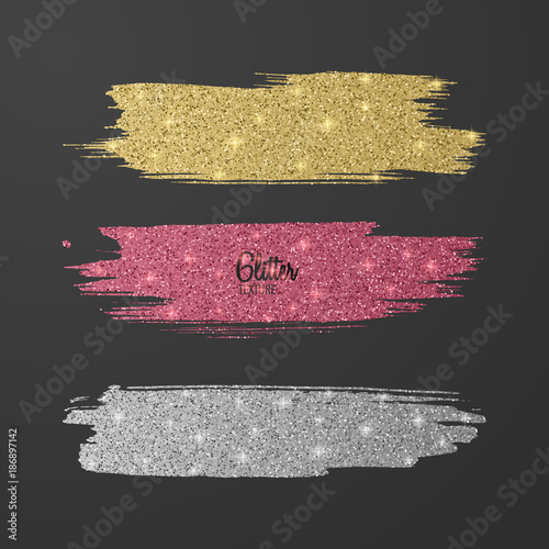 Photo Set of glitter brushes, pink, gold and silver several colors on dark background, shiny, luxury effect for your design