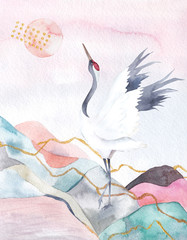 Panel Szklany Na drzwi Abstract watercolor background with crane. Japan design. Hand drawn illustration