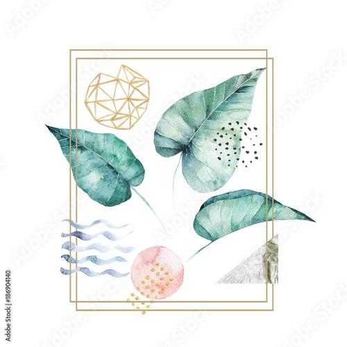 zestaw-lisci-akwarela-recznie-rysowane-ilustracji-pojedyncze-zdjecie