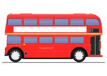Cartoon Red Double Decker Bus....