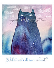 What Cats Dream About... Watercolor Illustration Of A Dreamy Cat. Hand Drawn Fishes On The Background And A Text Below. It Can Be A Birthday Or Greeting Card.