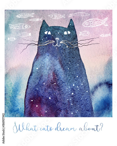 what-cats-dream-about-watercolor-illustration-of-a-dreamy-cat-hand-drawn-fishes-on-the-background-and-a-text-below-it-can-be-a-birthday-or-greeting-card