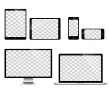 Realistic Set Of Monitor, Lapt...