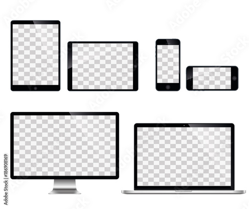 Fotografía  Realistic set of monitor, laptop, tablet, smartphone - Stock Vector illustration