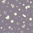Seamless pattern baby set on grey background. cute delicate illustration, soft Pastel color. printing on paper and fabric