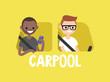 Carpool conceptual illustration. A driver and a passenger riding in the car. Flat editable vector illustration, clip art