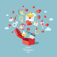Digital Vector February Happy Valentine's Day