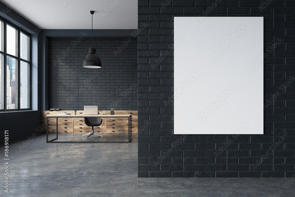 Fototapety, obrazy: Black brick CEO office interior, poster