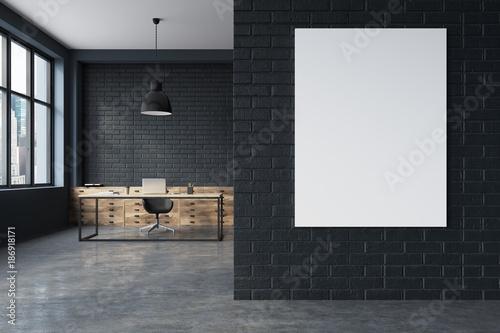 Fotografia, Obraz Black brick CEO office interior, poster
