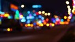 Night traffic. Variable focus, the lights of the night city.