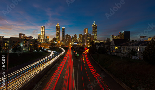 Ingelijste posters Centraal-Amerika Landen light trails from Jackson street bridge, atlanta georgia