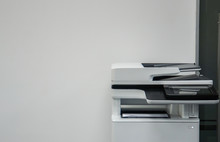 Multifunction Printer In Office For Printing, Scanning, Copying And Sending Fax