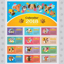 2018 Year Calendar With Styliz...