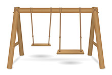 Wooden Swing Vector On A White...