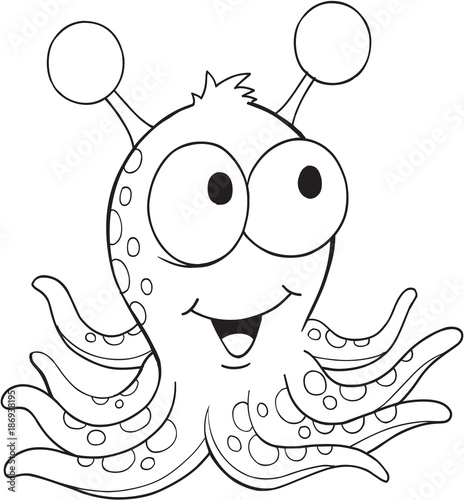 Fond de hotte en verre imprimé Cartoon draw Cute Silly Monster Alien Vector Illustration Art