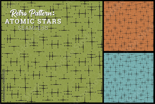 Photo Seamless Retro Star Pattern in 3 vintage color options