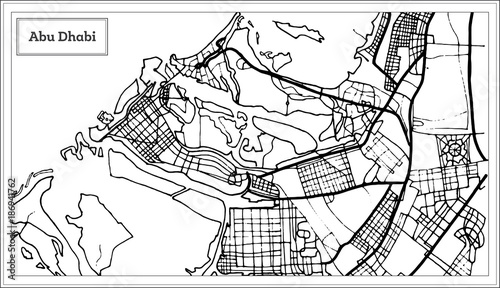 Cuadros en Lienzo Abu Dhabi UAE Map in Black and White Color.