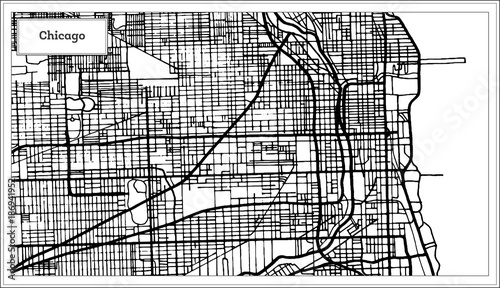 Chicago Illinois USA Map in Black and White Color. – kaufen Sie ...