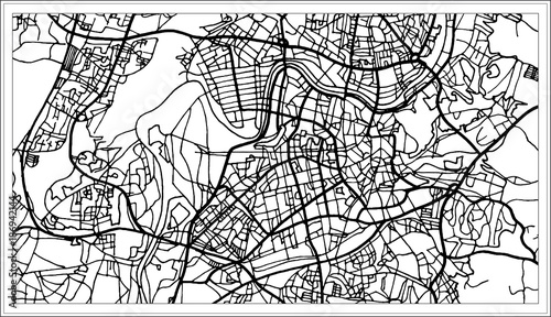 Canvas Print Vilnius Lithuania Map in Black and White Color.