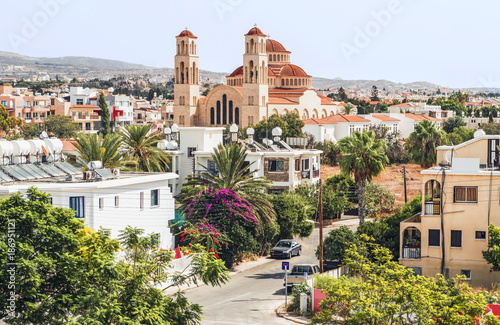 Photo Stands Cyprus View of Paphos with the Orthodox Cathedral of Agio Anargyroi, Cyprus.