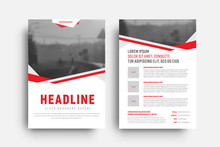Template Of A White Flyer With Red And Gray Abstract Lines And A Place For A Photo