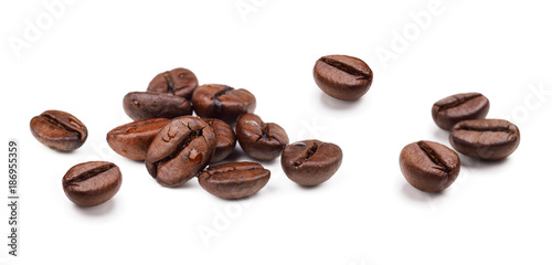 Set of fresh roasted coffee beans isolated on white background.