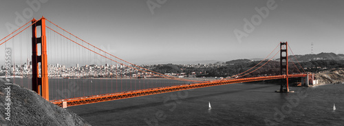 Poster Verenigde Staten Panorama Golden Gate Bridge in San Francisco