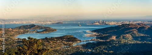 Foto op Canvas San Francisco Panorama Bay Area Blick vom Mount Tamalpais