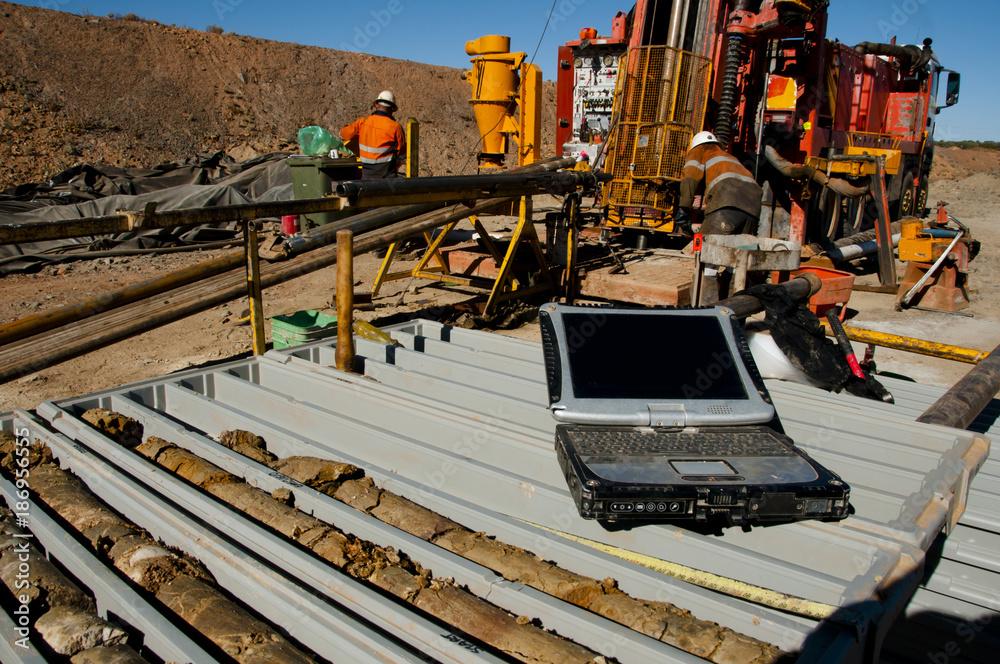 Fototapety, obrazy: Geology Core Logging on Laptop