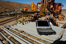 Geology Core Logging On Laptop