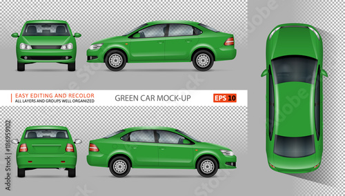 Green Car Vector Mock Up For Advertising Corporate Ideny Isolated Template Of Eco